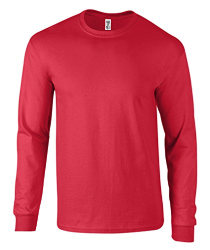 Have It Tall Men's Long Sleeve T Shirt Premium Ringspun Cotton Made In USA Red (Red Super Soft T-shirt)