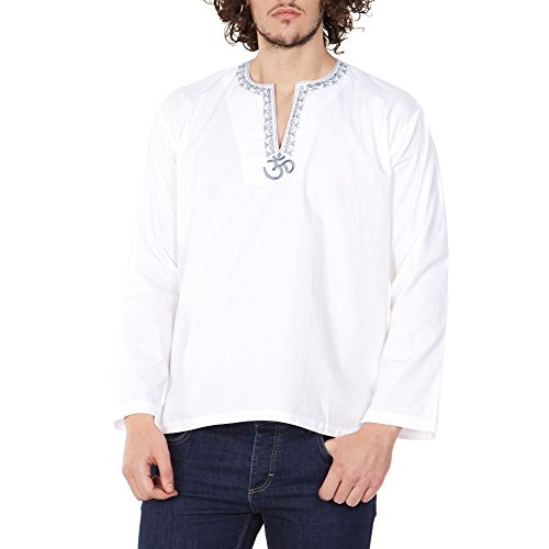 Indian Outfit Loose Fit Airy Comfortable Om Embroidered Kurta Shirt For Men 42 - Shopping Indian Online