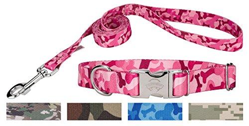 Pink Bone Camo Premium Dog Collar & Matching Leash Set-S ()