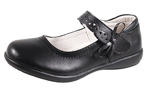 QHamThim Girls Leather Oxford Black School Uniform Outdoor Dress Mary Jane Shoe(Toddler/Little Kid/Big Kid) US Size 1 Black ()