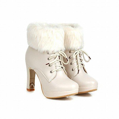 Carolbar Womens Lace up Faux Fur Sweet Princess Lolita Cosplay Barbie Style Elegance Chic Platform High Heel Snow Dress Boots Beige U7nHz1RDii