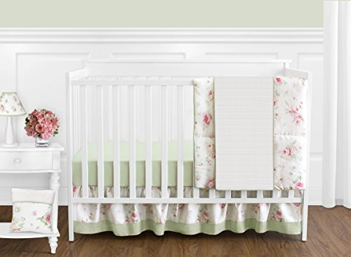 (Sweet Jojo Designs 11-Piece Riley's Roses Pink and Sage Green Shabby Chic Floral Baby Girl Flower Bedding Crib Set Without Bumper )