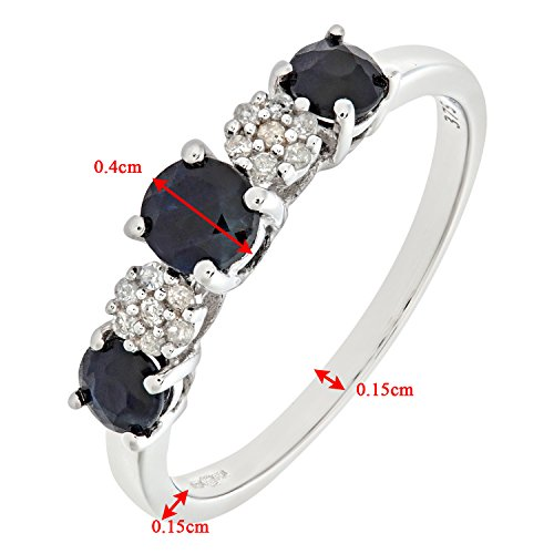 Revoni - Bague en or blanc 9 carats, saphirs et diamants