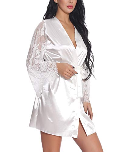 SelfieGo Satin Nightgown with Robe Lace Silk Like Long Mesh Sleeve Kimono Two Piece Suit Sleepwear (White X-Large)