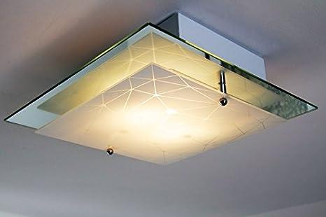 Sostituire Plafoniera Con Lampadario : Plafoniera metallo e vetro specchio decorato lampadario quadrato