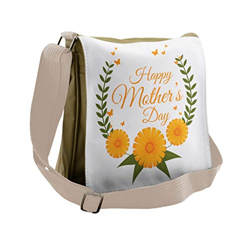 Lunarable Mothers Day Messenger Bag, Butterfly Daisy Wreath, Unisex Cross-body