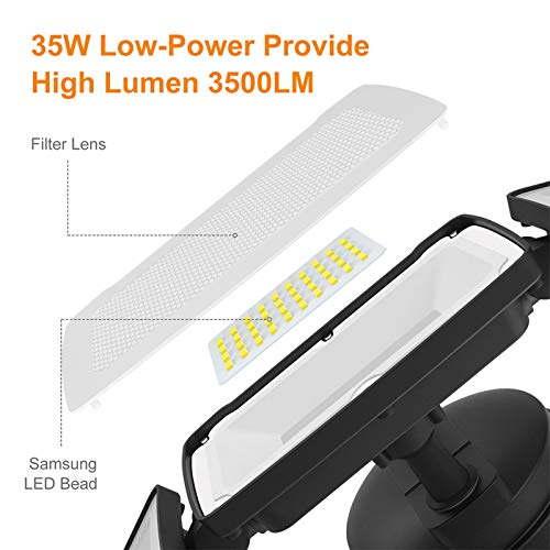 LEPOWER 35W LED Security Lights Motion Sensor Light Outdoor, 3500LM Motion Security Light, Waterproof IP65, 5500K, Full Metal, 3 Head Motion Detected for Garage,Porch,Yard (NOT Solar Powered)