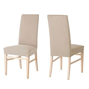 4 x auralum beige chair cover stretch elastic chair for Housse de chaise salle a manger