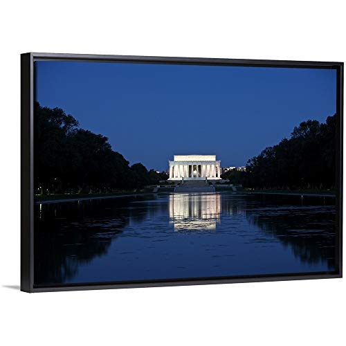 Terry Moore Floating Frame Premium Canvas with Black Frame Wall Art Print Entitled Lincoln Memorial Reflection in Pool, Washinton D.C, USA 30