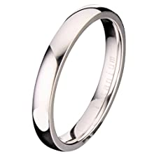MJ Metals Jewelry Titanium 4mm Wedding Band Polished Comfort Fit Ring Size 8