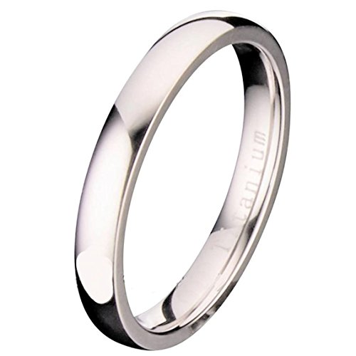 3 Mm Ring (3MM Polished Comfort Fit Titanium Wedding Ring Band Size 8)