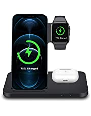 FDGAO 15W Wireless Charger,3 in 1 Wireless Charging Station for iPhone 11/XR/XS/X/8,Apple Watch SE/6/5/4/3 and AirPods Pro/2;Wireless Charging Dock for Samsung Galaxy S21/S20/S9/S10/S8 and Galaxy Buds
