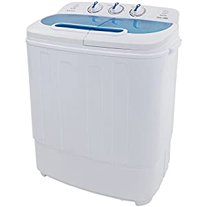 ROVSUN Portable Twin Tub Washing Machine, Electric Compact Mini Washer, Wash 8LBS+Spin 5LBS Capacity Energy Saving, Spin Cycle w/Hose,Great for Home RV Camping Dorms Apartments College Rooms