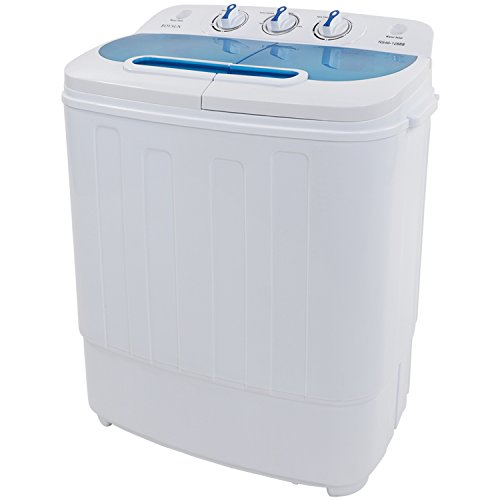 ROVSUN Portable Twin Tub Washing Machine, Electric Compact Mini Washer, Wash 8LBS+Spin 5LBS Capacity Energy Saving, Spin Cycle w/ Hose,Great for Home RV Camping Dorms Apartments College Rooms