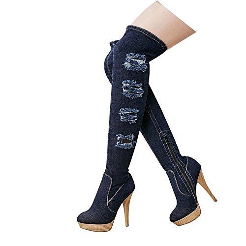 Heeels Stilettos Knee Boots Denim Zipper Women Blue Dark Handmade Platform Stretch Shoes Emiki Shoes High Jeans Winter UPBzxq