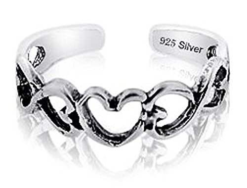 Heart Link Ring (Sterling Silver 925 Heart Links Design Toe Ring. Nickel Free Adjustable Fit Solid Band)