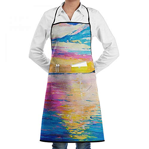 Cooking Apron Rich Golden Sunset Over Ocean Kitchen Apron With 2 Pockets,Customized Multipurpose Waterproof