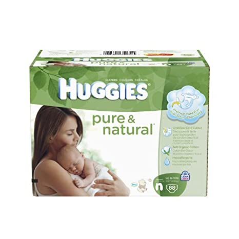 HUGGIES Pure and Natural diapers, Newborn, 88 Count Style: Newborn ...