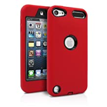 iPod Touch 5th Case, iPod Touch 6th Case, MagicMobile® Premium Dual Heavy Duty Hybrid Shockproof Resistant Armor Protective Case Cover for iPod 5 / 6 Red Silicone Layer and Black Hard Plastic