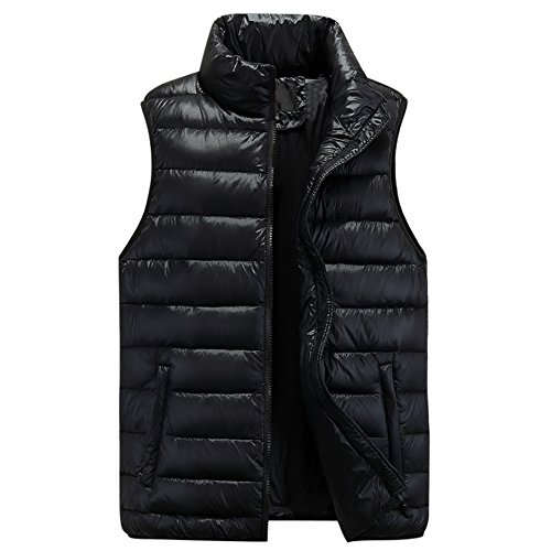 Autumn Winter Waterproof Zipper Sleeveless Windproof Black Jacket Coat Down Mens Down amp; Outwear Vest Thick BOZEVON wqt85Apv