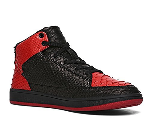 Black Snakeskin Top Shoes Red Black Lace Sneakers Mens Vintage up Womens Soulsfeng High Red tvqwFEOg