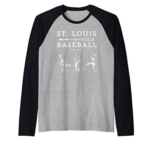 (Classic St. Louis Missouri Baseball Fan Retro Raglan Baseball Tee)
