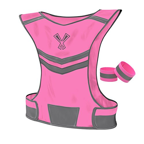 247 Viz Reflective Vest with 2 High Visibility Safety Bands, Neon Pink
