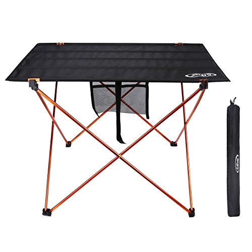 G4Free Ultralight Portable Folding Table Compact Roll Up Tables with Carrying Bag for Outdoor Camping Hiking Picnic (Black/Orange Large)