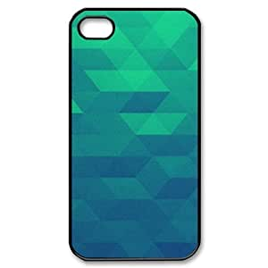 Case for IPhone 4/4s, Blue Green Pattern Case for IPhone 4/4s, Kweet Black