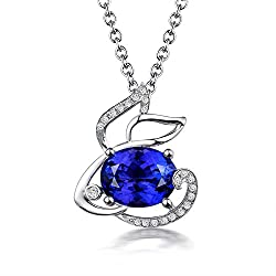 Tanzanite Diamond Pendant In White Gold