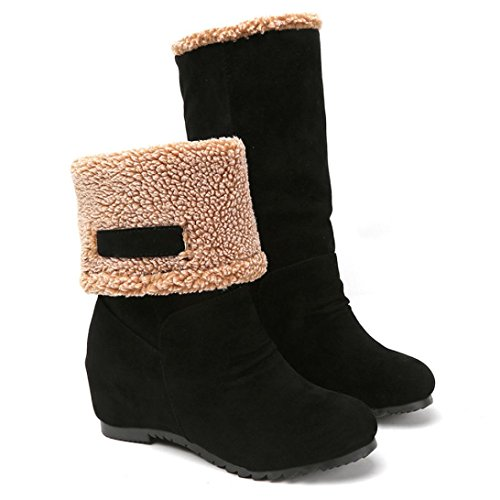 Snow Boots,Fheaven Women Fashion Fur Ankle Boots Heels Mid Calf Snow Boots (US:7.5, Black)
