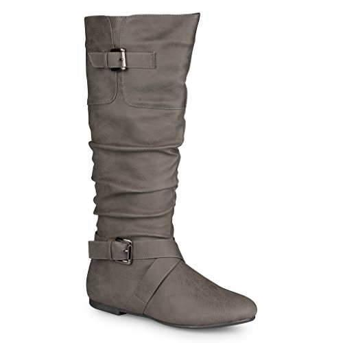 Twisted Women's Faux Leather Slouchy Buckle Strap Mid Calf Boots - VAN0109 GREY, Size (Leather Buckle Boot)
