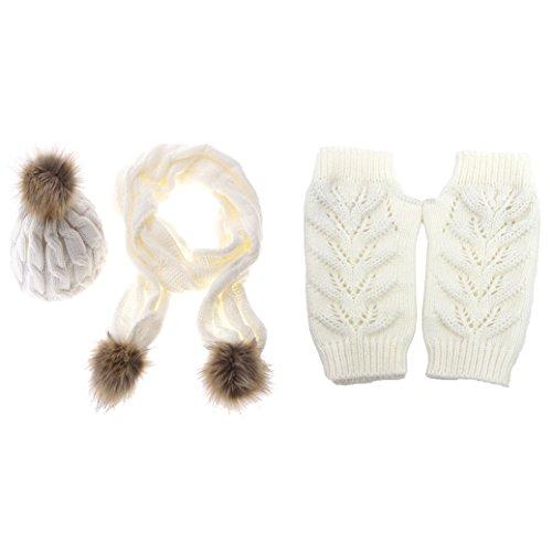 Knitted Beanie Hat Scarf Gloves Warm Autumn Winter Thermal Set, White ()