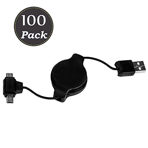 Micro USB Cable 3.2FT Pair Tip Micro and Mini USB cord 100-Pack Retractable Adapter High-Speed Compact Design for Portability Black by Vangoddy