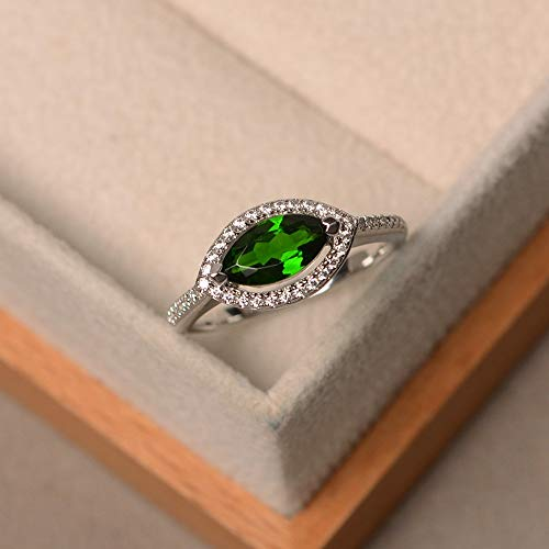 - Chrome diopside halo ring sterling silver marquise cut green gemstone