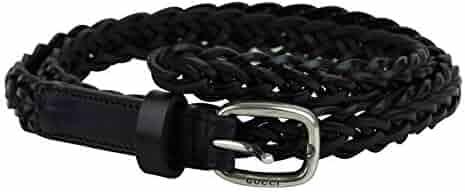 4ba3989006d Gucci Women s Silver Buckle Black Braided Leather Skinny Belt 389000 1000