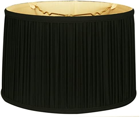 Royal Designs BS-750-18BLKGL Shallow Drum Gather Pleat Basic Lamp Shade, 17 x 18 x 11.5 , Black