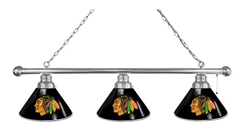 NHL 3-Shade Pool Table Light by Holland Bar Stool - Chicago Blackhawks, Chrome/Black - Bar Black Shade Pool Table