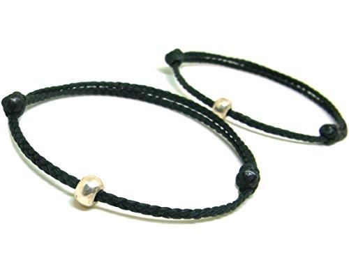 Asian Silver Bracelet (2 Piece BUSABAN Asian Handmade Bracelet 925 Silver Bead Double Black Wax String)