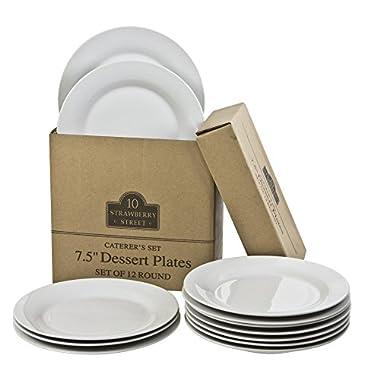 10 Strawberry Street Catering Set 7-1/2-Inch Salad/Dessert Plate, Set of 12