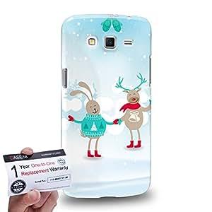 Case88 [Samsung Galaxy Grand 2] 3D impresa Carcasa/Funda dura para & Tarjeta de garantía - Art Navidad Classics Happy Deer Rabbit