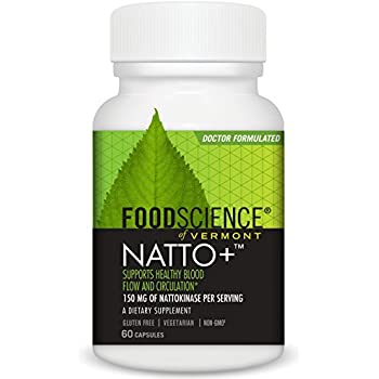 FoodScience of Vermont- Natto+, Circulation and Blood Flow Supplement, 60 Count