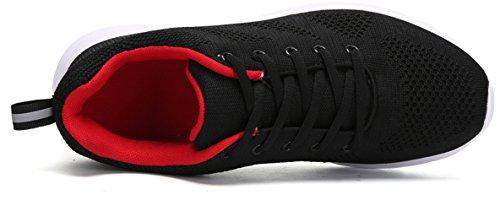 Joansam Mens Loopschoenen Mode Ademende Sneakers Mesh Zachte Zool Casual Atletisch Lichtgewicht Zwart