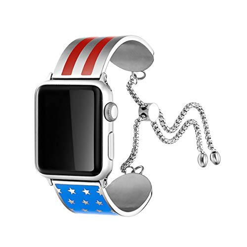(AsiaFly USA Flag Charm Bracelet Compatible with Apple Watch Cuff Band 38mm 42mm 40mm 44mm, Adjustable Classy Dressy Metal Jewelry Bangle American Flag Compatible with Apple Watch Series)