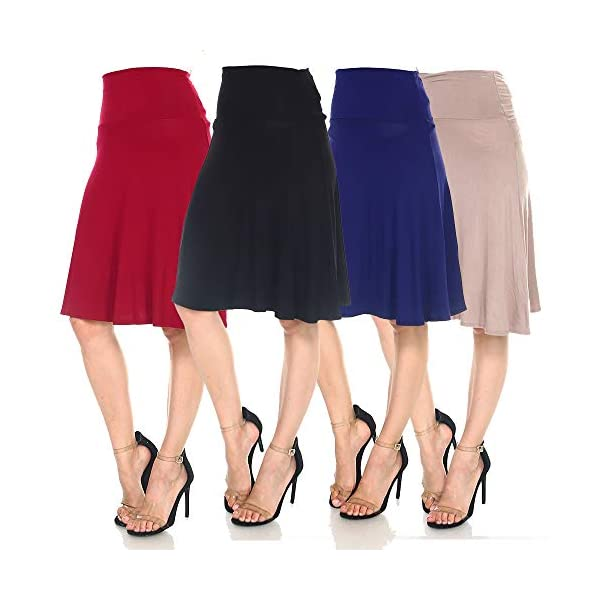 4 Pack of Women's Midi A-Line Basic Skirts – Solid with Fold Over Waist Band Flare Design 15