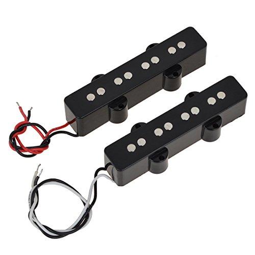Pair of 4 String Bridge Neck Pickups Set for Fender Jazz Bass Black Open Style ()