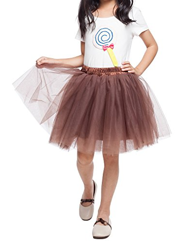 Little Girl Tutu Skirt A Line 7 Layers Tulle Skirt Party Princess Dance Tutu Dress (3T -10T) Coffee