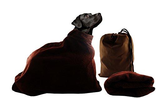 PoochOneZee der schnell trocken Beutel fuer Hunde - Das super saugfaehige mikrofaser Haustier Handtuch mit Reißverschluss und Hundepflege Gross