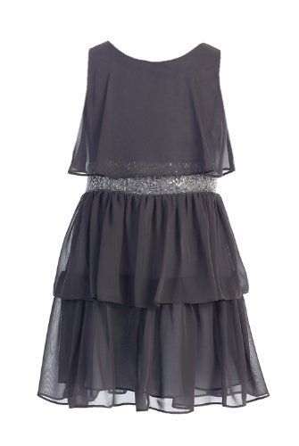 Sweet Kids Big Girls' Sequin Belted Chiffon Dress 7 Charcoal Sk 401 ()