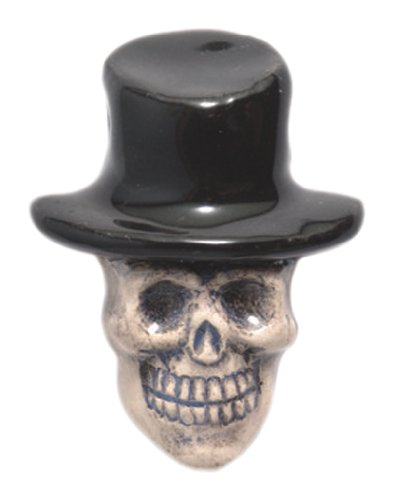 - Shipwreck Beads 20 by 27mm Peruvian Hand Crafted Ceramic Skull Top Hat Beads, Black, 3 per Pack